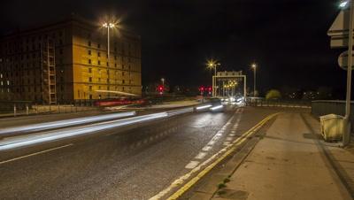 Bristol's Cumberland Basin harbourside traffic by night