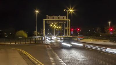 Cumberland Basin traffic in Bristol at night