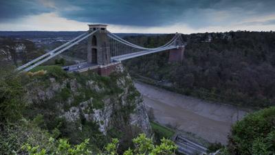 Clifton suspension bridge day to night