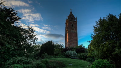Sunset over Cabot tower in Bristol