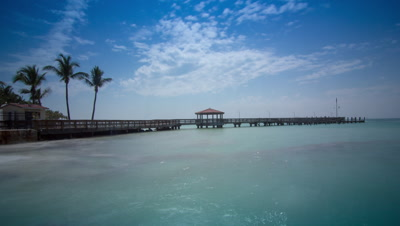 The view from between South beach and Higgs beach in Key West. The water is given a glass like effect from using a 10 stop ND filter.