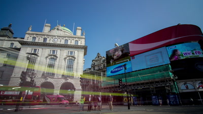 Motion controlled pan and tilt shot at Piccadilly Circus, London.