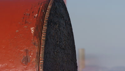 Close up cross section of Golden Gate Bridge cable as tourists touch the 27,572 wire ends contained in main cable