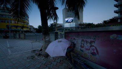Mid shot busy street corner with palm tree and lady sat on sidewalk beneath it featuring Chinese poster