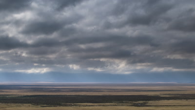 Big wide angle pan across vast flat dry grasslands of the Ngorongoro Crater floor with small swamp with blue sky and white fluffy clouds