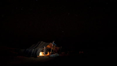 Wide angle Tuareg tent in the desert at night with black starry sky