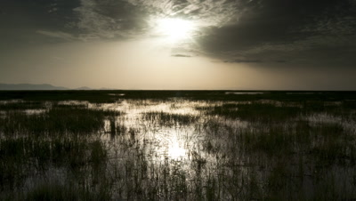 Wide angle sunset over swampy northern Lake Turkana landscape home of the Daasanach tribe