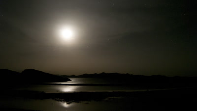 Wide angle moon and Venus setting over Lake Turkana with star field