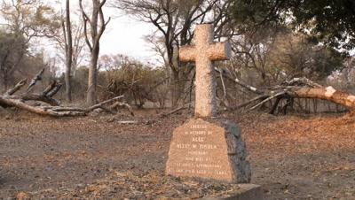 Mid shot Rourkes Drift grave on banks of Zambezi River