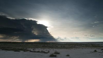 Wide angle dramatic dark rain clouds dropping showers of rain over Etosha salt scrub land