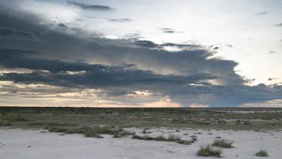 Wide angle dark rain clouds move over Etosha salt pan scrub as orange sun sets
