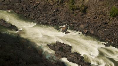 Medium wide angle top shot Zambesi rapids in Batoka Gorge, downstream of Victoria Falls
