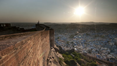 Medium wide angle from Jodhpur Fort ramparts overlooking houses and rooftops of Jodhpur city