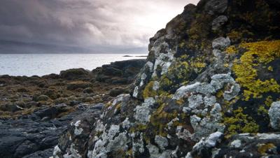 Track back past black rocks on shore of Scottish Loch