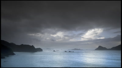 Rain clouds and squalls over Japan Sea from Irimote Island, Japan