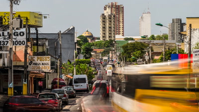 Traffic heads towards downtown Manaus, Brazil