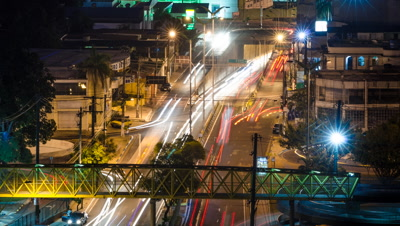 High shot of Manaus traffic from day to night, Brazil