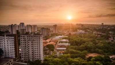 High shot of Manaus from dark through sunrise, Brazil