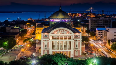 High Shot of Day to night of the Amazon Theatre in Manaus