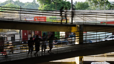 High shot of bus staion and commuters in Manaus, Brazil