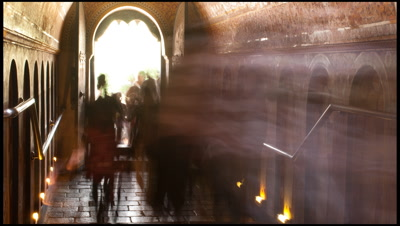 Worshippers enter Buddhist temple in Sri Lanka