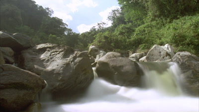 Low wide angle looking up mountain stream through large boulders with motion blurred water and lush green foliage behind and blue sky with clouds