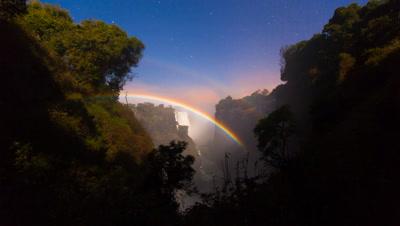 Double Lunar Rainbow rise, Victoria Falls, Night-sky