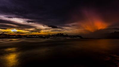 Wide Angle, Cloudy Full Moon rise, Victoria falls, Cataract Island