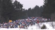 American Birkebeiner, Skiers Climbing First Hill Out Of The Starting Gate