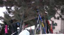American Birkebeiner, Zoom To Skis Balanced Against Trees By Lodge, Pre-Race