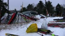 American Birkebeiner, Pan Across Skis Laying In Snow, Waiting For Start Of Race
