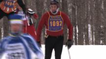 American Birkebeiner, Skiers Coming Into View, Topping Rise On Trail, Coming Down