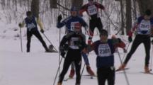 American Birkebeiner, Large Group Of Skiers Rounding Corner, Climbing Hill