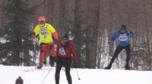 American Birkebeiner, Skiers Coming Up Over Hill, One In Colorful Outfit, Yellow Hat