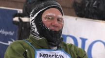 American Birkebeiner, Skier Crossing Finish Line, Checking Time On Watch, Cold And Frosty