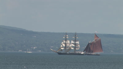 Tall Masted Sailing Ships, Lake Superior, Red Ship Overtaking White One
