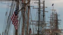 Masts, Rigging Of Tall Masted Sailing Ships, American Flag