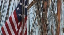 American Flag, Flying In Mast Of Anchored Tall Sailing Ship