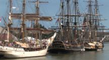 Hms Bounty And Tall Masted Sailing Ships Anchored In Harbor, Lake Michigan