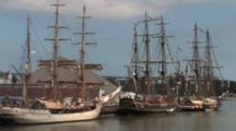 Hms Bounty And Other Tall Masted Sailing Ships Anchored In Harbor, Lake Michigan