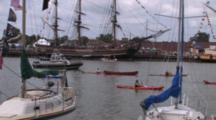 Canoes, Kayaks, Police Boats, Passing Anchored Hms Bounty, Tall Masted Sailing Ships In Lake Michigan Harbor