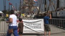 Tall Masted Sailing Ships Festival, Sign, Boy Stops, Takes Pictures