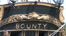 Hms Bounty, Tall Masted Sailing Ship Anchored In Harbor