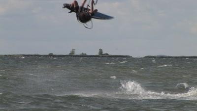 Kite Boarding, Lake Michigan, Boarder Flips Toward Camera, Exits Frame
