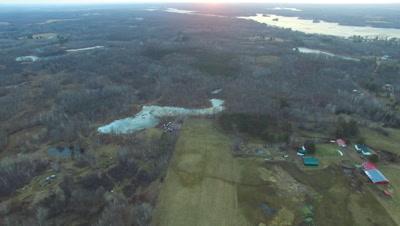 Farmland in Early Spring, Ice-locked Beaver Pond
