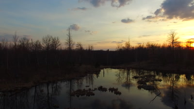 Travel Across Beaver Pond in Twilight, Cloud Reflection