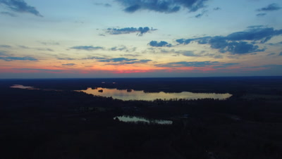 Sunset Over Small Lake, Northern Deciduous Hardwoods