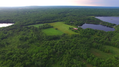 Northern Hardwood Forest, Lakes and Farm, Pan to L