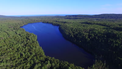 Northern Lake Pan to Boreal Forest, Lake Superior in Far BG