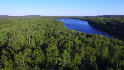 Lake Surrounded By Boreal Forest, Lake Superior in Far BG, Slow Descent
